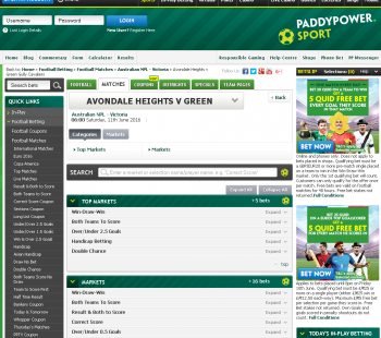 Green Gully Cavaliers @ PaddyPower Bookmaker