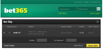 Ards FC @ Bet365 Bookmaker