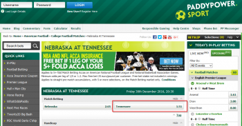 Tennessee @ PaddyPower Bookmaker