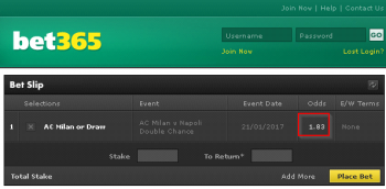 AC Milan @ Bet365 Bookmaker