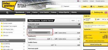 Rapid Vienna @ Interwetten Bookmaker