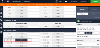 Manchester United @ Pinnacle Bookmaker