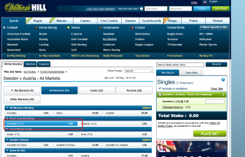 Sweden @ WilliamHill Bookmaker
