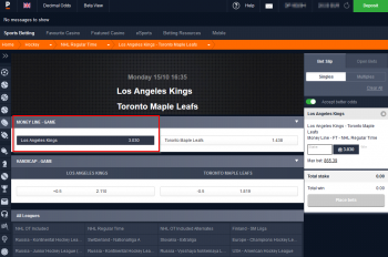 Los Angeles Kings @ Pinnacle Bookmaker