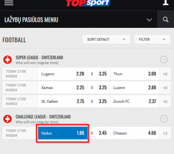 Vaduz @ TOPsport Bookmaker
