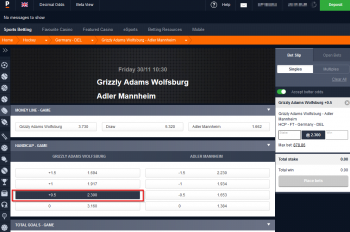 Grizzly Adams Wolfsburg @ Pinnacle Bookmaker