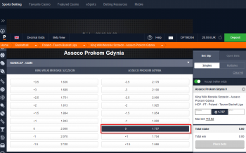 Asseco Prokom Gdynia @ Pinnacle Bookmaker